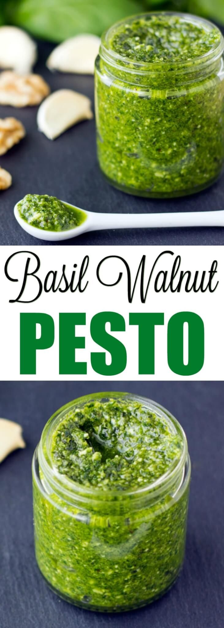 Basil Walnut Pesto comes together in about 15 minutes with just 6 ingredients. Great for pasta, sandwich spreads, and soup garnishing!