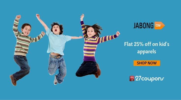 Kids shop more !!! Flat 25% off on ‪#‎kids‬ ‪#‎apparels‬ http://27c.in/qDnC8 ‪#‎Fashion‬ ‪#‎Kidsfashion‬ ‪#‎Jabong‬ ‪#‎savemoreon27coupons‬ For more #offers on kids apparels kindly visit http://www.27coupons.com/