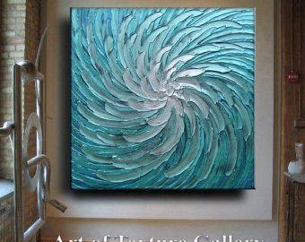 Abstract Painting Big 30 x 40 Texture Modern Blue door artoftexture