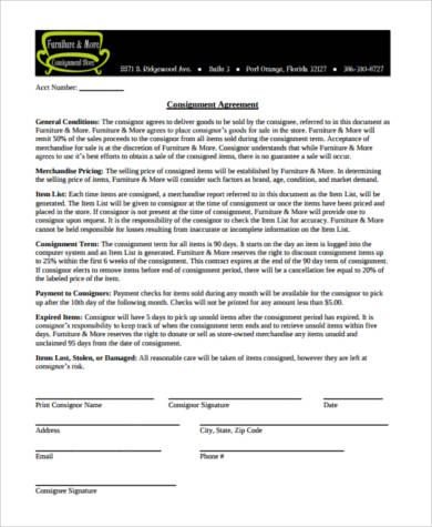 Furniture Consignment Agreement Form Consignment Agreements