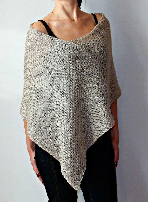 Linen Grey Cape Poncho asymmetrical Cape Summer by KnittedByUpyte