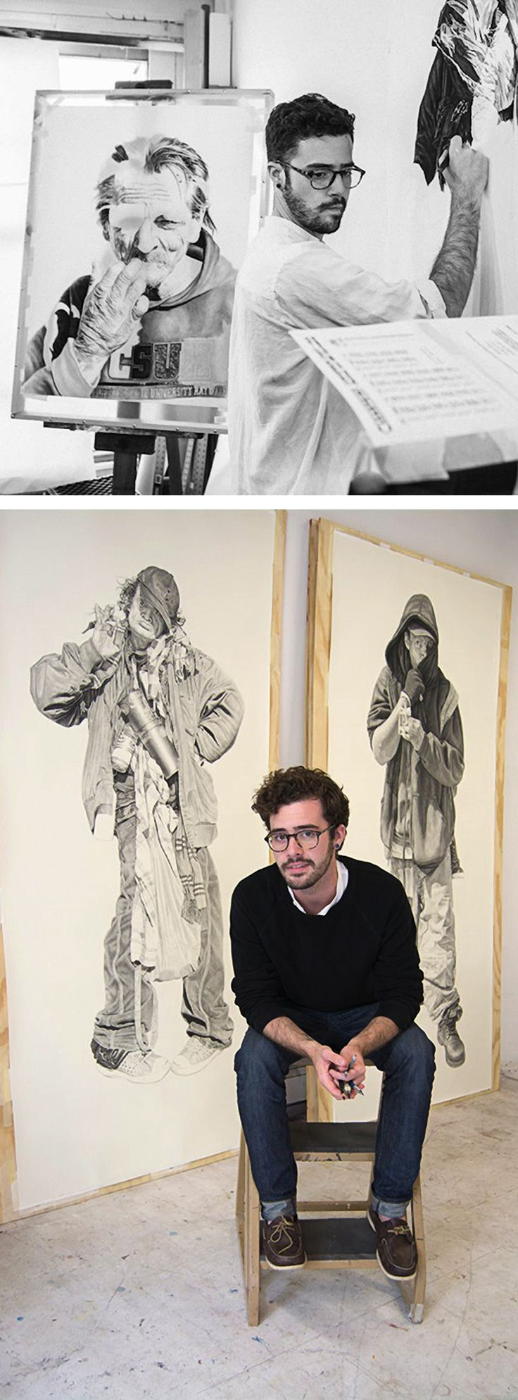 Joel Daniel Phillips, artist seated in his California art studio #workspace with life-sized people, pencil and charcoal drawings. joeldanielphillips.com