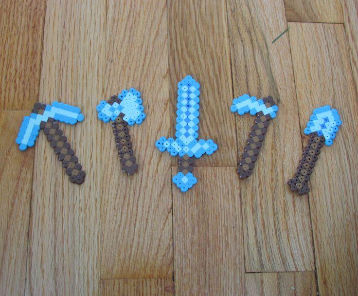 Minecraft Diamond Tool Magnets from perler beads