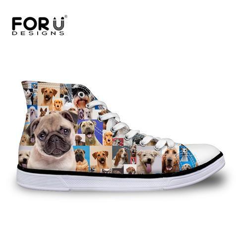 Pug And Bone Pattern Women¡s Casual Shoes Flat Athletic Fashion Vegan