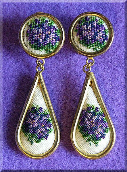 Fabulous PETIT POINT Austria Violets Vintage Dangle Earrings from jewelpigs on Ruby Lane