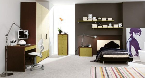 Brown bed lamp room young man teen design shelves window picture carpet Chair