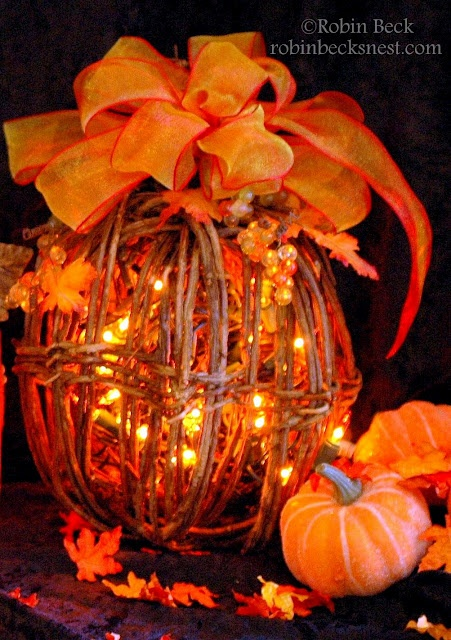 Grapevine lighted pumpkin...