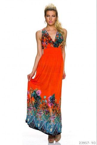 Αέρινο μάξι φόρεμα με φλοράλ print - Πορτοκαλί Πολύχρωμο