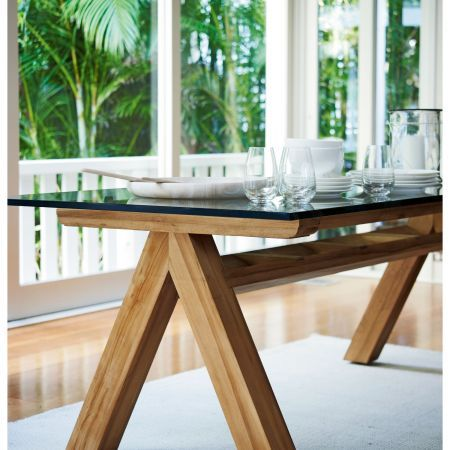 Mikaela Teak Dining Table With Glass Top Outdoor
