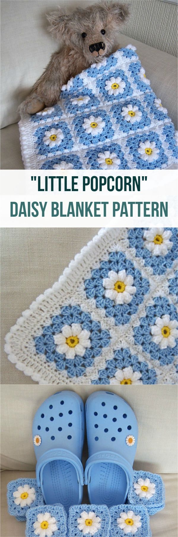 FREE - CROCHET - Little Popcorn Daisy Blanket Pattern ~ love it in this colour combo
