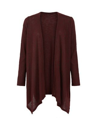Burgundy Fine Knit Ribbed Waterfall Cardigan  | New Look
