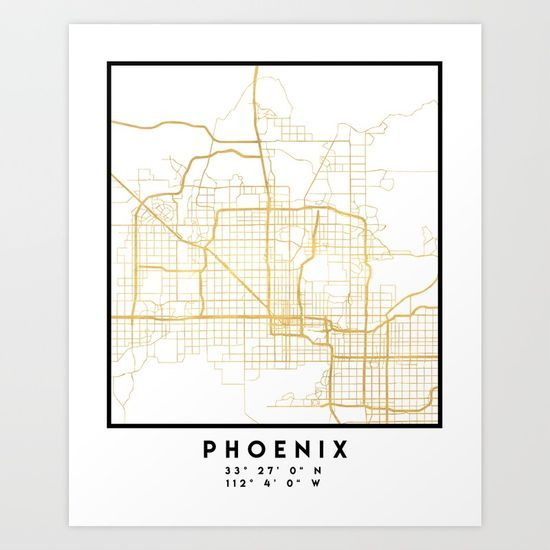 PHOENIX ARIZONA CITY STREET MAP ART - An elegant city street map of Phoenix, Arizona in gold, with the exact coordinates of the city, make up this amazing art piece. A great gift for anybody that has love for this city. You can never go wrong with gold. I love my city. graphic-design digital typography stencil illustration phoenix arizona downtown street map coordinates souvenir gold gift city