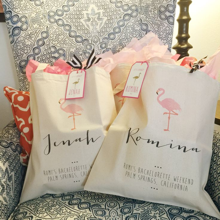 Flamingo Bachelorette weekend personalized gift bags for the girls ...I filled these up with weekend essentials- Evian Face Spray, sunglasses, itineraries, themed tank tops, matching Pura Vida friendship bracelets, and pink flamingo tumblers for poolside drinking. Flamingo Pool Party. flamingo. Bachelorette Party Planning