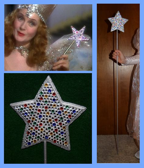 DIY Wizard of Oz Glinda Wand Supplies- long thin wooden dowel, wooden star, small jewels with a flat back (silver, red, yellow, blue, and green), silver metallic paint, craft glue that works on wood, and drill with a drill bit that is just slightly larger than dowel