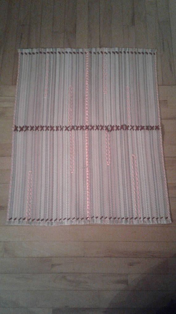 Repurposed Placemats as Area Rug 32 x 25 in. Pink multi