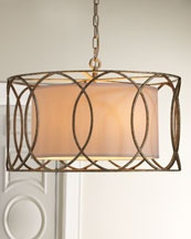 """Horchow   """"Sausalito"""" Five-Light Chandelier  A cage of overlapping circles around a linen shade give this chandelier depth and visual impact.        Made of wrought iron.      Metal is hand worked to achieve unique detailing.      Uses five 60-watt bulbs.      24.5""""Dia. x 14.5""""T with 6'L chain."""