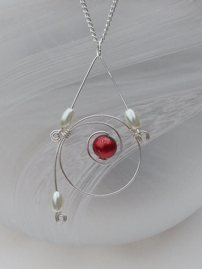 Spiral Beaded Wire Necklace