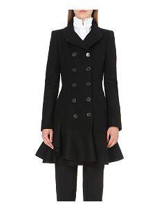 ALEXANDER MCQUEEN Frilled-hem wool coat