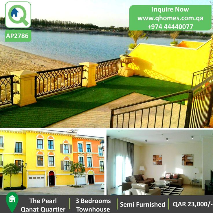 Townhouse for Rent in Pearl - Beach Front Semi Furnished 3 Bedrooms Townhouse in Qanat Quartier at QAR 23,000/-