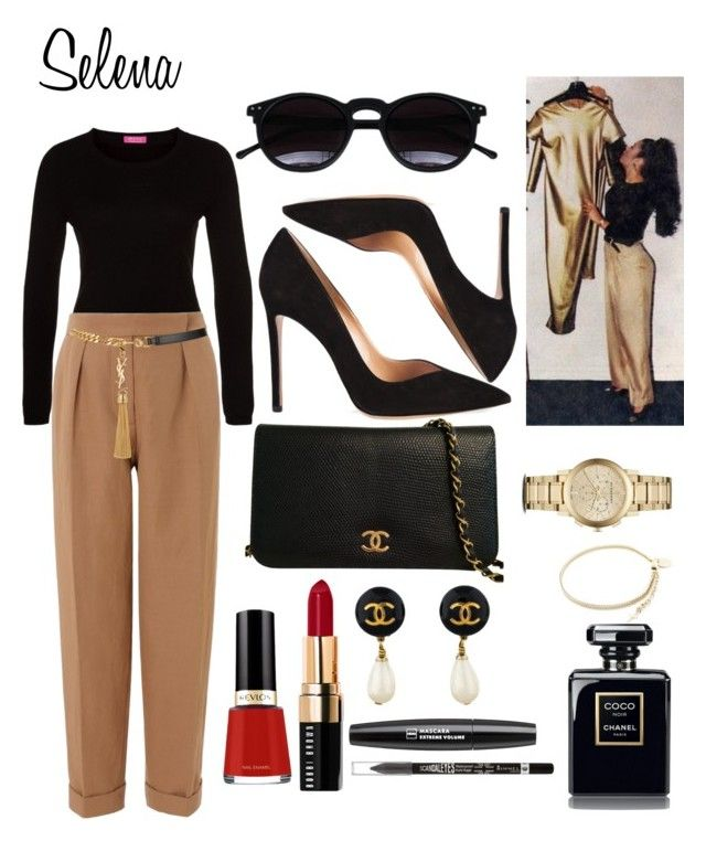 """Selena Quintanilla inspired outfit ?"" by ledesma-adrianna ❤ liked on Polyvore featuring FTC, Chicnova Fashion, Gianvito Rossi, Bobbi Brown Cosmetics, Cédric Charlier, Chanel, Burberry, Yves Saint Laurent, Rimmel and Mademoiselle Felee"