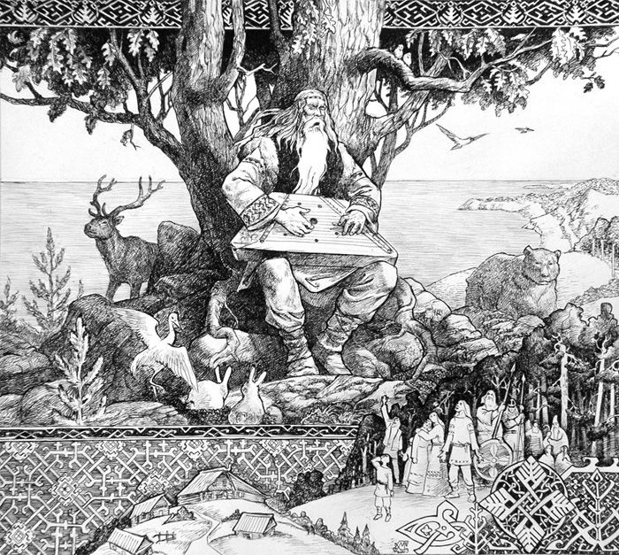 Väinämöinen (one of the demi-god heroes from the Kalevala)    illustration by Marina Kleiman