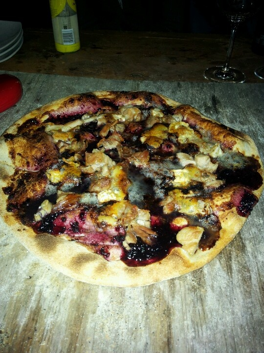 Raspberry jam, roast chicken and brie pizza. #pizza #oven #jam