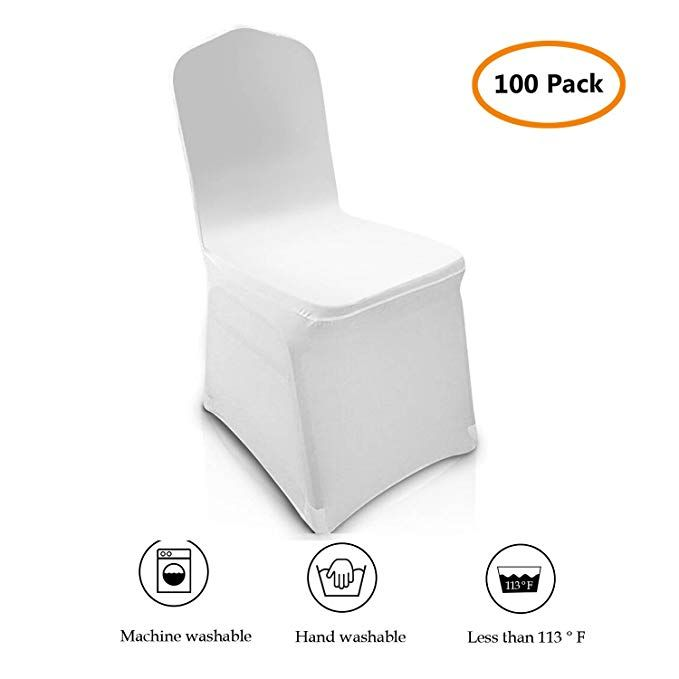 100 Pcs Universal Chair Covers Spandex White For Wedding Party