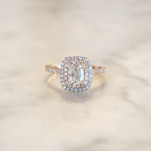 Cushion Cut Diamond Double Halo Engagement Ring in White and Rose Gold at Sarah O. Jewelry | Denver, CO