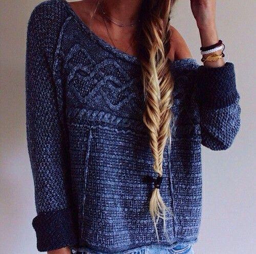 boxy sweaters and side braids