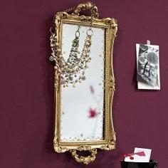 Wanddeko-Tablett zum Aufhängen. Goldfarbener Rahmen im Barockstil, Spiegel in Antikoptik. Aus Polyresin und Glas. Ca. 56 x 28 x 4 cm.    Bestellnummer: 5582741    € 39,95