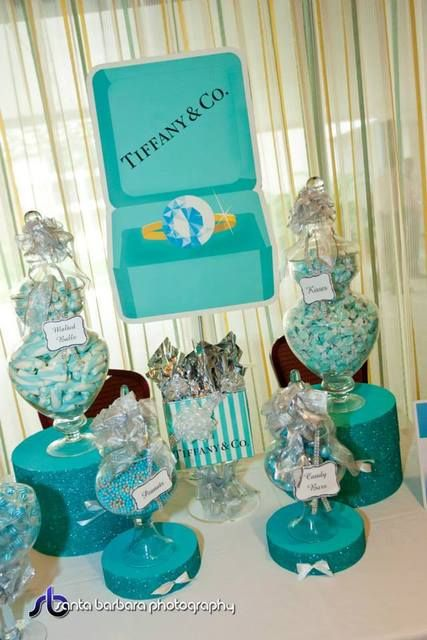 Beautiful display at a Tiffany's party! See more party ideas at CatchMyParty.com! #partyideas #tiffanys