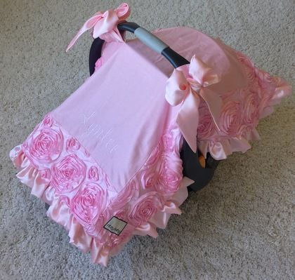 Baby Pink Roses Attachable Car Seat Blanket with Bows