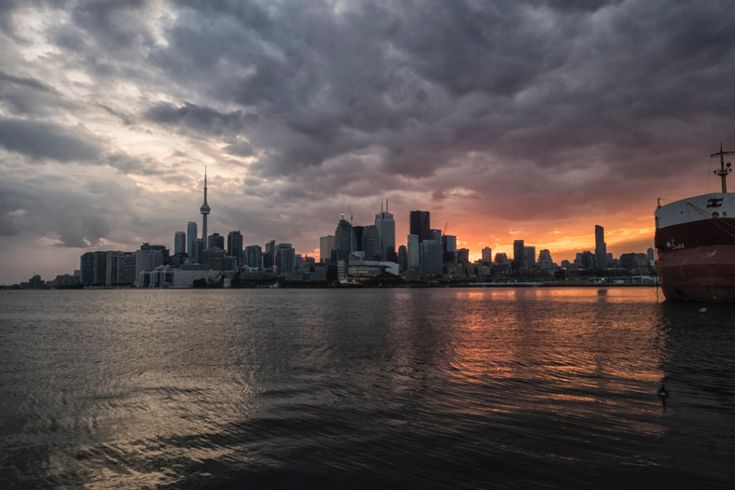 June 4, 2015: Polson Pier #Skyline, image submitted to the #UrbanToronto flickr pool by Ben Roffelsen #Toronto #urban #city #PolsonPier #sunset #clouds