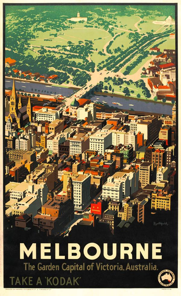 Melbourne - vintage travel poster by James Northfield c. 1930, via http://www.thisgirllel.com/2012/12/vintage-australia.html