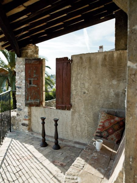 : French Villa, Beautiful Places, Reading Nooks, Haciendas, French Balconies, Outdoor Spaces, Drinks, Beautiful Patio, Cozy French