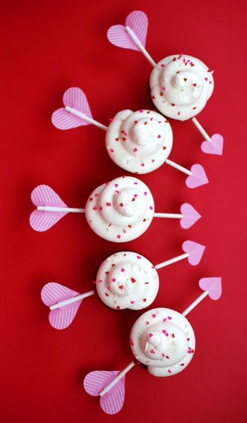 Red Velvet Cupid's Arrow Cupcakes | 21 Valentine Cupcakes That Will Make Your Coworkers Love You