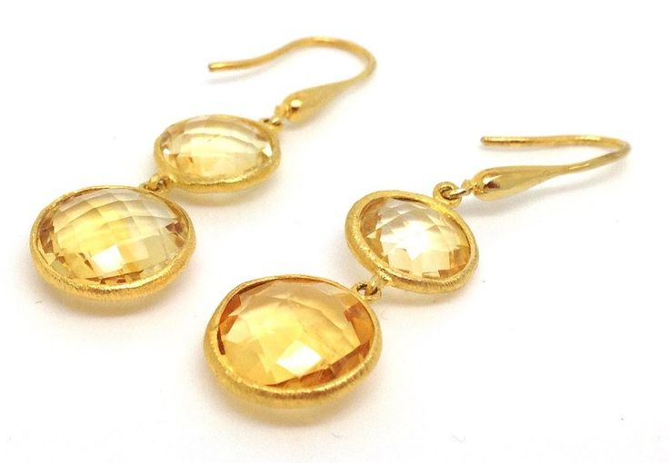 Solid Sterling Silver with gold overlay citrine gemstone chequerboard faceted drop earrings. Lower stone measures 12mm diameter. Length of drop from ring approx 28mm. Actual ones shown. First stone measures 10mm diameter. | eBay!