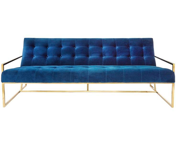 Machen Sie Ihr Wohnzimmer mit Sofa Goldfinger in Marineblau und Messing zur Wohlfühloase. Entdecken Sie weitere Möbel von JONATHAN ADLER auf >> WestwingNow.