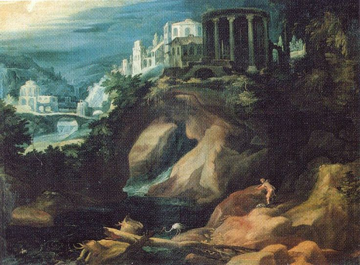 Paul Bril (circa 1553/1554–1626) Landschaft mit Sibyllentempel Date	1595 Medium	oil on canvas Dimensions	11 × 17 cm Galleria Borghese  Rome
