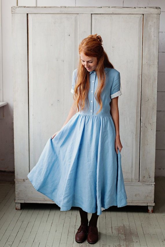FORGET-ME-NOT Classic Dress short sleeves Sky by SondeflorShop