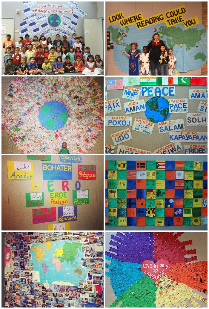 8 FANTASTIC ideas for Global and  Multicultural Bulletin Boards. Encourage kids to learn about world cultures, while creating a warm and welcoming school environment. The whole school can work together to create these works of art that celebrate cultural differences.