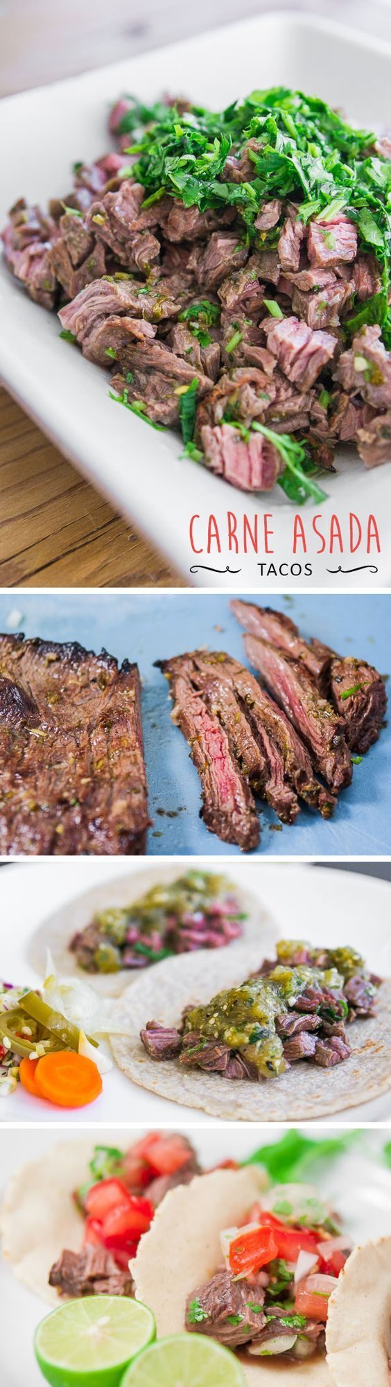 Grilled skirt steak marinated in lime juice and spices. How to make a delicious Carne Asada.