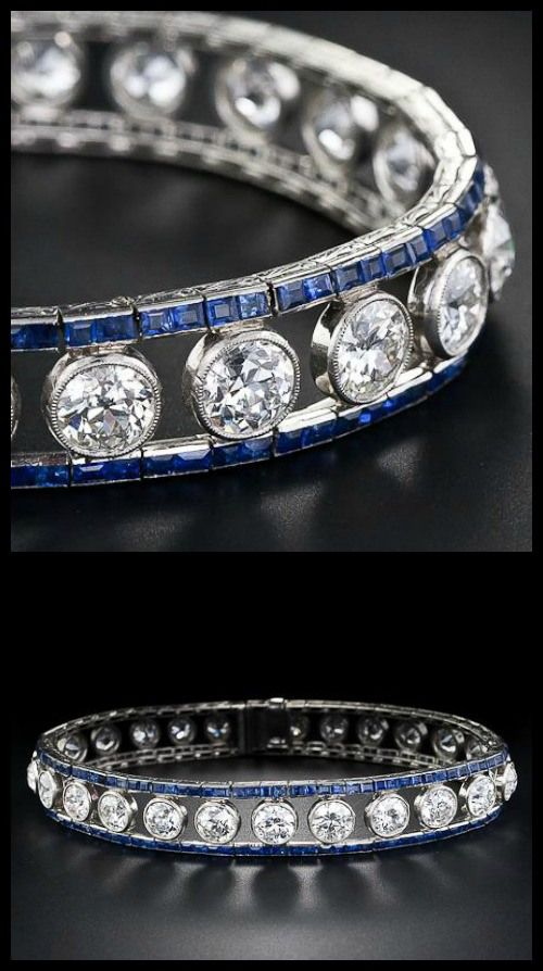 French Art Deco diamond and sapphire bracelet, circa 1925. 10 carats of diamonds bordered by calibre-cut sapphires. http://diamondsinthelibrary.com/2014-gift-guide-unlimited-budget/