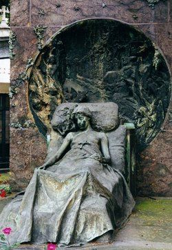 Isabella Casati's lovely stone memorial. Depicts the young lady reclining in her deathbed,1889