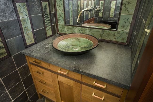 stoneware sink in this beautiful arts and crafts bathroom; from Suzanne Crane Gallery. Love Craftsman style!