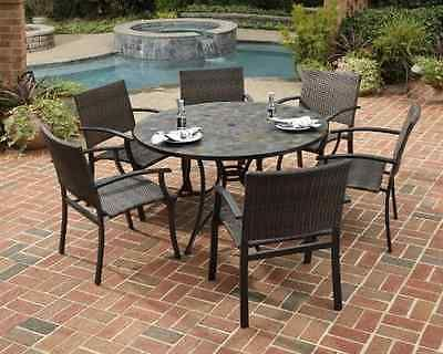 7-Piece Outdoor Patio Dining Set High Quality Sturdy Furniture Deck Garden Pool