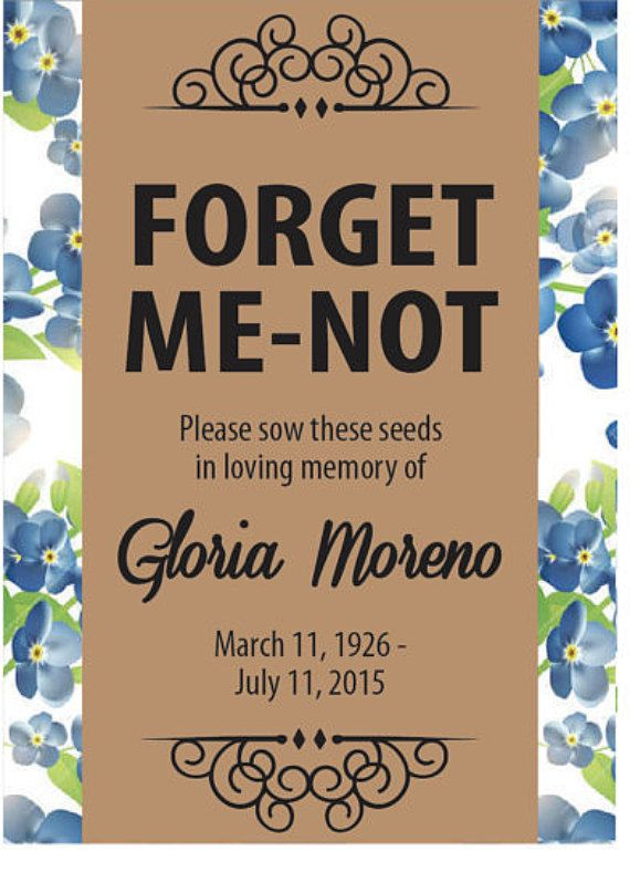 Share the love in remembering loved ones who have passed with these personalized memorial forget-me-not seed packets. Perfect for funerals,