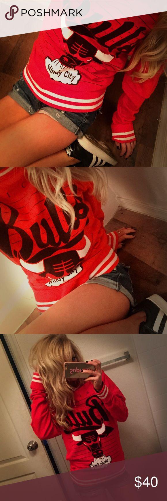 🏀 Chicago Bulls Sweatshirt Size small. Long sleeve. Pull over Sweatshirt. Chicago bulls basketball. Windy City. Red, scoop neck. Good condition chicago bulls Tops Sweatshirts & Hoodies