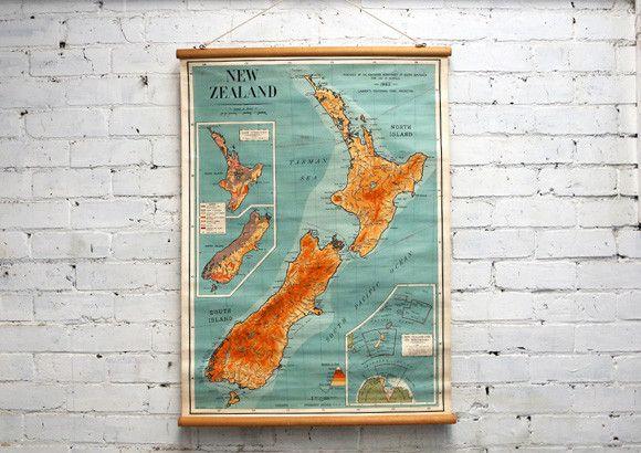 Vintage School Map of New Zealand