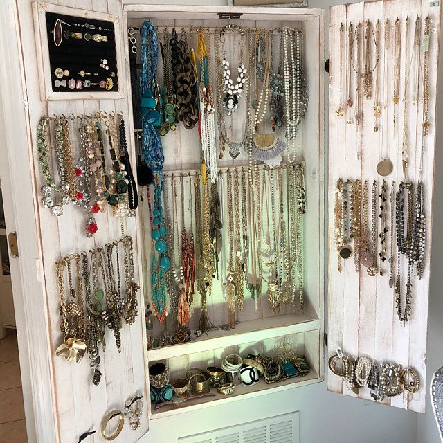 Box Necklace Bracelet Jewelry Cabinet Wall Holder Closet Storage Stand Earring Organizer Display Armoire Distressed White Wooden